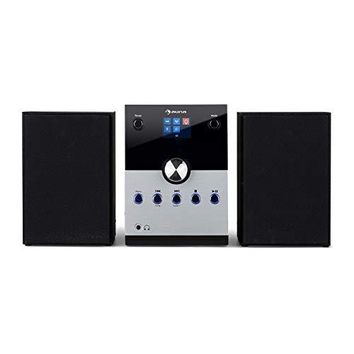 auna MC-30 Dab Equipo estéreo - Minicadena , Altavoces de 2 vías , Potencia: 20 W máx. , CD , Sintonizador Dab+- , FM-PLL , Interfaz Bluetooth , Entrada AUX , Mando a Distancia , Plateado