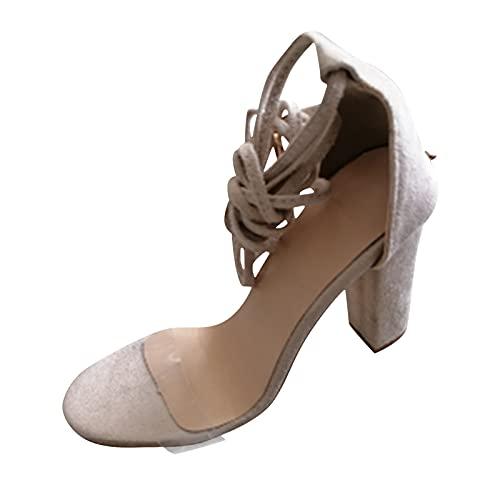 Yuanjay Women Summer Plus Size Leopard Print Rhinestone Wedding Shoes Ankle Strap Open Toe High Heel Sandals Pink 41