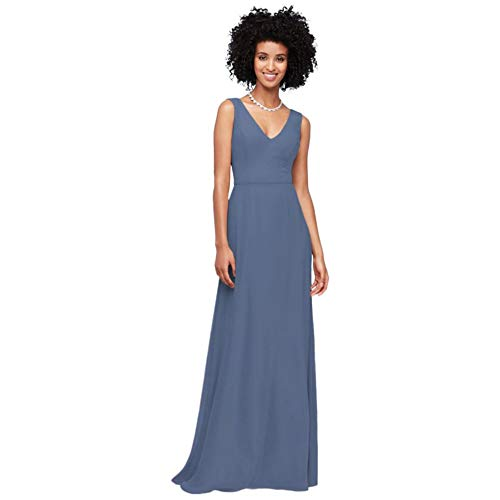 David's Bridal Chiffon V-Neck Tank Bridesmaid Dress Style F19938, Steel Blue, 24
