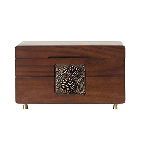 Organizador de la caja de joyería de madera con la cerradura de combinación para las mujeres con la cómoda grande con cerradura del contenedor de la joyería del contenedor del recipiente del vintage