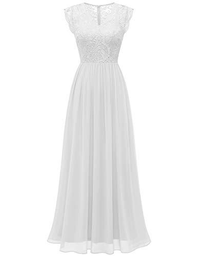DRESSTELLS sukienka koronkowa odświętne suknie wieczorowe długie suknie dla druhen Suknie ślubne dla kobiet White XL