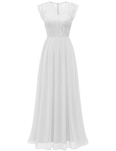 DRESSTELLS Long Lace Chiffon Bridesmaid Dress Illusion Wedding Evening Gown with Cap-Sleeves White M