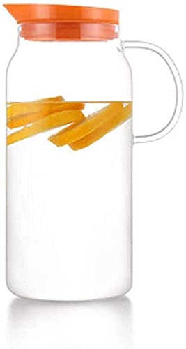 aipipl Botella de Vidrio para Agua fría 1.3L Jugo a Prueba de explosiones Botella de Agua fría Botella de Vidrio Arge con Tapa y Pico Taza de té para Bebida Grande y Duradera, Rosa