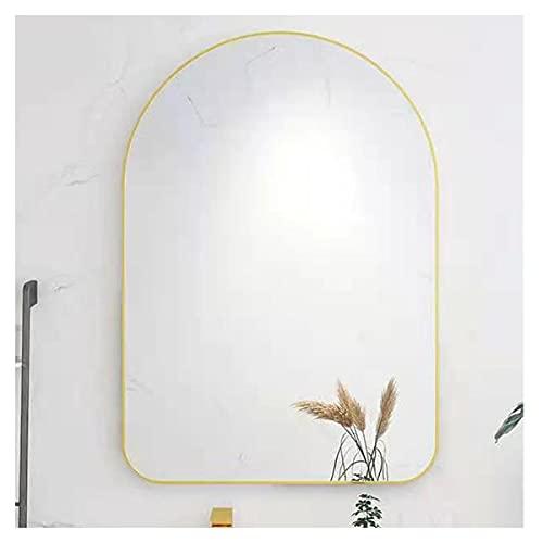LYLSXY Grande Specchio Bagno,Arredamento Casa Specchio Parete ,Immagini Nitide Effetto Riflettent,per Bagno, Soggiorno,Hotel (Color : Brass Gold, Size : 500 * 1000mm)