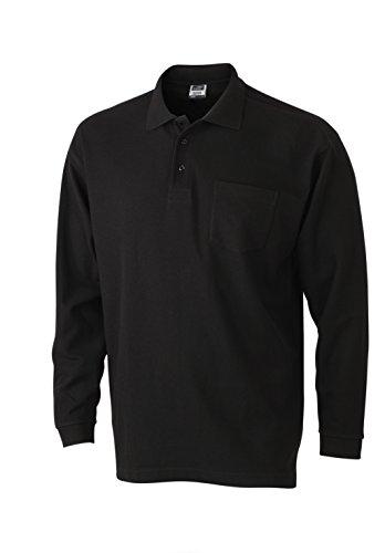 Herren Langarm-Polohemd mit Brusttasche, Farbe:black;Größe:3XL