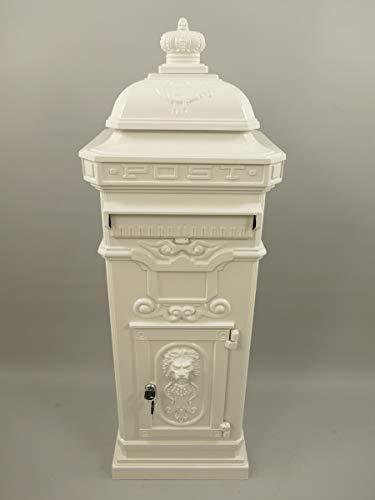 linoows Briefkasten, Großer Standbriefkasten, Antik-Briefkasten Aluminium, Weiß