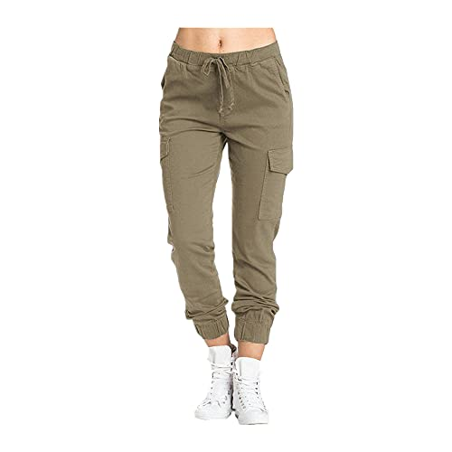 N\P Pantalones de Carga de Las Mujeres Otoño Casual Lacing Cintura Bottoms Pantalones Pantalones Pantalones