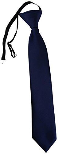 TigerTie Kinderkrawatte dunkelblau Uni - Krawatte vorgebunden mit Gummizug