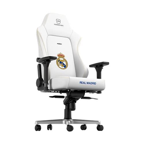 noblechairs Hero Gaming Stuhl - Bürostuhl Ergonomisch - Schreibtischstuhl - Gaming Chair Pc - Gaming Sessel - Chefsessel Bürostuhl 150 kg Belastbarkeit - Real Madrid Edition