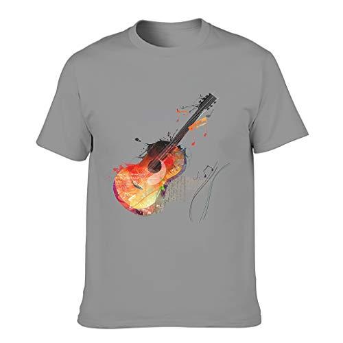 Freizeit Herren T-Shirt Aquarell Gitarre Musik Noten Fantasy Druck Erwachsen Wappenhemd Dark Gray l