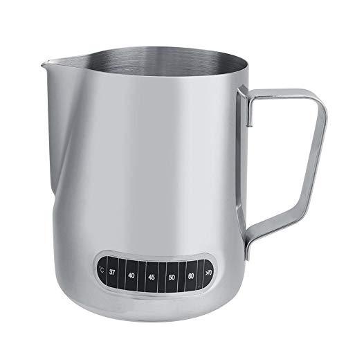 Jarra de Leche, 600 ml jarro de Leche con la exhibición del termómetro de la Jarra de Acero Inoxidable for el café Latte...