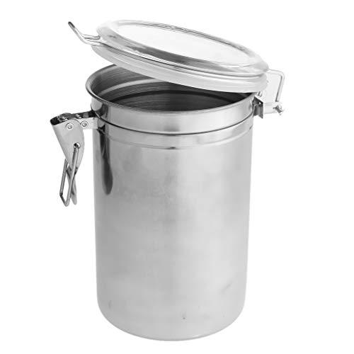 P Prettyia Kaffeedose, Edelstahl Vorratsdosen Teedose Metall Kaffeebehälter Vakuum Dose - D