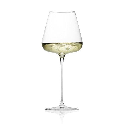 Bicchiere Calice per Spumante e Champagne in cristallo con incisioni al laser che convogliano il perlage. Una sensazione unica per apprezzare al meglio il gusto e la finezza delle bollicine