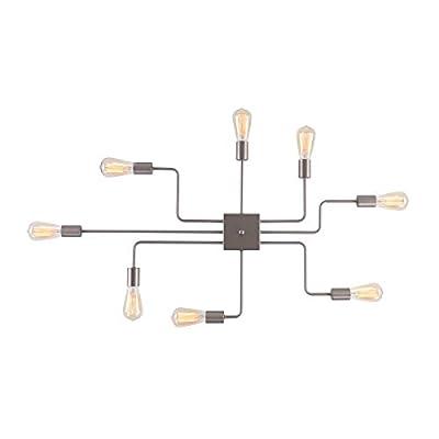 mirrea Modern Industrial Semi-Flush Mount Metal Ceiling Lighting for Rectangular Room 8 Lights (Brushed Nickel)