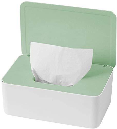 Caja de pañuelos húmedos, caja de pañuelos de bebé, dispensador de toallitas húmedas, caja dispensadora de toallitas, caja de pañuelos húmedos para bebé con cierre de tapa (verde+blanco)