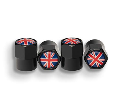 AVEELO 4 er-Set Ventilkappen mit Großbritannischer Flagge für Auto Motorrad Fahrrad Roller und Kinderwagen Radventilkappen Reifenventilkappen Ventildeckel Autoventilkappen car Valve caps (GB Flagge)