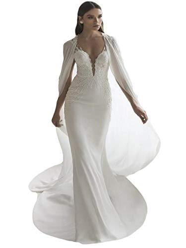 The Peachess 2020 Meerjungfrau Brautkleid mit Umhang Chiffon Wrap Spitze Trompete Chic Brautkleider - Wei� - 38