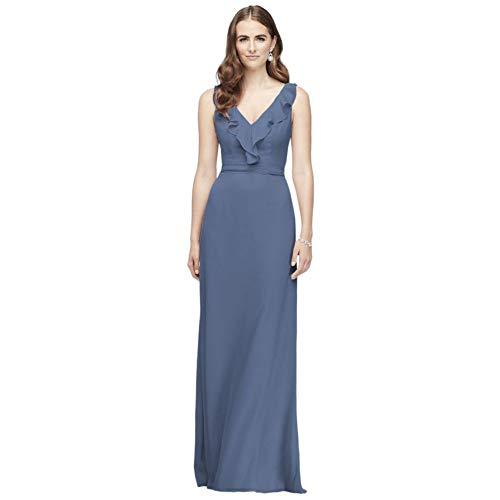 David's Bridal Ruffled Tank Crinkle Chiffon Bridesmaid Dress Style F19895, Steel Blue, 22