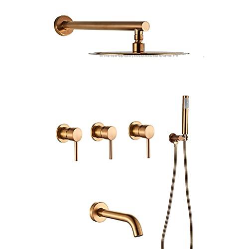 Juego de grifos de ducha en oro rosa cepillado, cabezal de ducha redondo de 10'con ducha de mano, sistema de ducha con caño para bañera, grifo mezclador de tres manijas para ducha