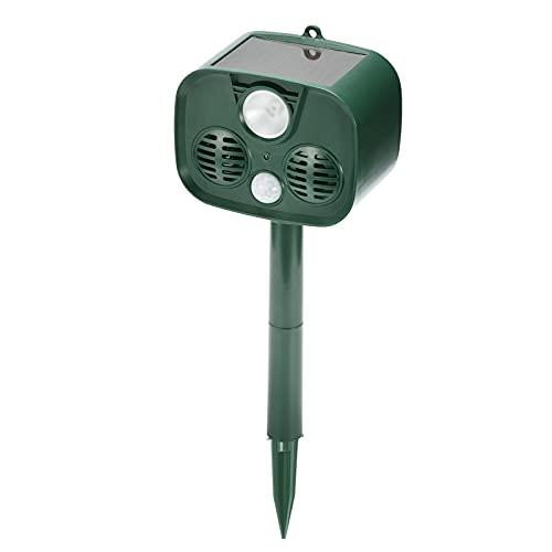 Decdeal Alarma Ultrasónica,Repelente de Animales,Repelente de Plagas a Prueba de Agua,Luz LED Intermitente/Activado por Movimiento/Energía Solar/120dB
