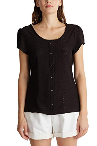 edc by ESPRIT Damen 040CC1K340 T-Shirt, 001/BLACK, XS