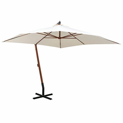 tidyard Sonnenschirm Ampelschirm Gartenschirm Freiarm Sonnenschutz Schirm Holzmast mit Kurbelmechanismus Stahl-Fußkreuz 300 x 300 cm Weiß