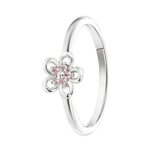 Lucardi - Kinderring, 925 Silber, Blume mit rosafarbenem Zirkonia - für Mädchen - 925 Silber