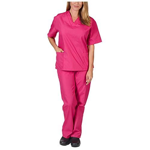 Zilosconcy Arbeitskleidung Kurzarm T-Shirts V-Ausschnitt + Hosen Pflege Set Medizin Arzt Berufsbekleidung Krankenschwester Kleidung Damen Uniformen Oberteil mit Tasche Unisex Hot PinkXXL