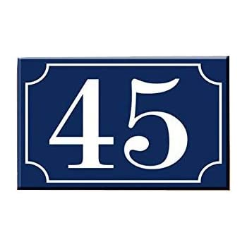 Old blue French house number 45 door gate plate steel enamel sign choice of 12
