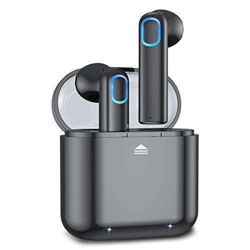 Acokki Bluetooth-Kopfhörer, kabellos, tiefer Bass, Hi-Fi, 3D-Stereo-Sound, integriertes Mikrofon, Kopfhörer mit tragbarer Ladehülle für Smartphones und Laptops In-Ohr Schwarz