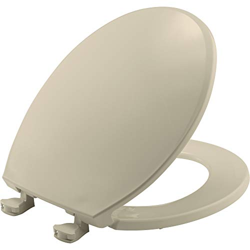 BEMIS 800EC 006 Plastic Toilet Seat with Easy Clean & Change Hinges, ROUND, Bone