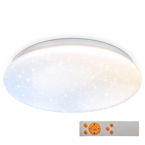 B.K.Licht 17W LED Sternenhimmel I dimmbare Deckenleuchte I Deckenlampe mit Farbtemperatursteuerung CCT I Nachtlichtfunktion I Sternendekor I IR-Fernbedienung I Ø338mm