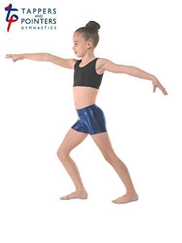 Micro-Hipster-Shorts, Hot Pants, Glänzend, Stretch-Stoff, für Gymnastik/Tanz/Freestyle Amazon Blue 5 Adult Large UK 12/14
