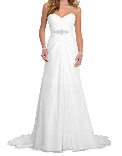 Romantic-Fashion Brautkleid Hochzeitskleid Weiß A-Linie Lang Chiffon Trägerlos Strass Perlen Modell W063 Größe 48