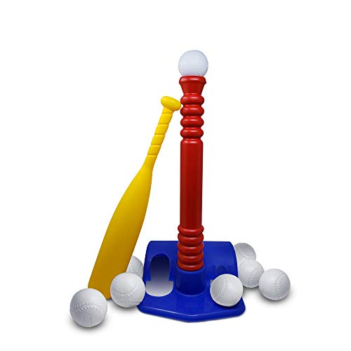 T-Ball Set, with 8 Balls - Toddlers / Kids Tee Ball - Sports Toy Baseball, Batting Tee Develops and Improves Baseball, Softball, Wiffle Ball Skills for Boy's and Girl's, Children Ages 1-12