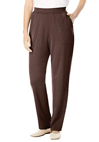 Woman Within Women's Plus Size Straight Leg Ponte Knit Pant - 20 W, Chocolate