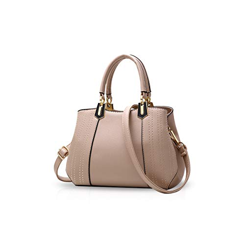 NICOLE&DORIS Women Lady Handbags Shoulder Bag Crossbody Bag Tote Satchel Purse PU Leather Khaki