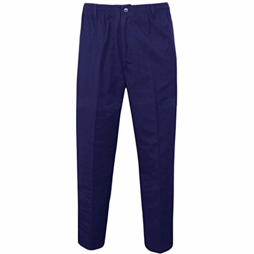 MyShoeStore Mens Smart Rugby Trousers Fully Elasticated Stretch Waist Band with Draw Cord Comfortable Fit Workwear Bottoms Straight Leg Casual Formal Work Pants Size 30-48(Navy,38/31)