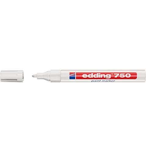 edding Lackmarker 750, wasserfest, schnelltrocknend, deckend, weiß, 2-4 mm, 10 Stück