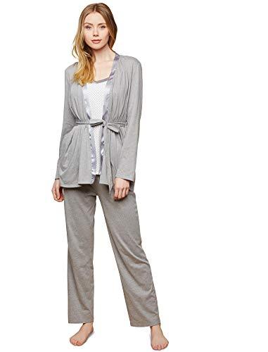Motherhood Maternity Women's Maternity Satin Trim 3 Piece Pajama Set with Nursing Function, Grey/White dot, Medium