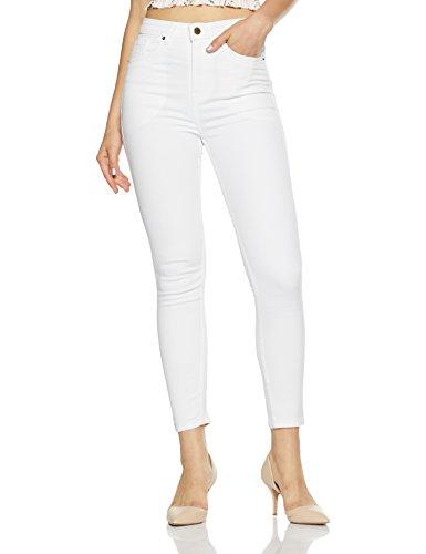 AKA CHIC Women's High Rise Skinny Jeans (AKCB 1005 B_White_28)