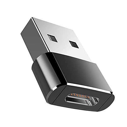 fuchsiaan Adaptador Tipo C a USB Puerto de Metal Aleación Hembra a Macho Carga Transferencia de Datos Convertidor - Negro