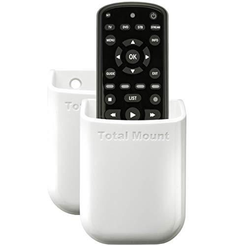 TotalMount Soporte universal para un mando a distancia Soporte de pared para TV Soporte de mesa Caja de almacenamiento para 1 mando a distancia en paquete doble