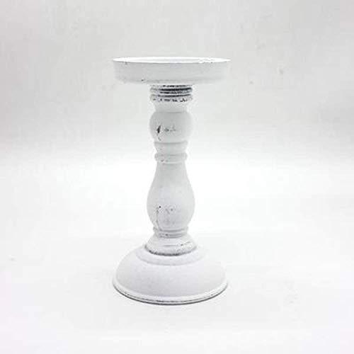 Ornamenten Houders van de Kaars Kaarsenstandaarden En Lijst Kandelaar Hout Retro kaarshouder Ornament for Dinner Decoration Kandelaar (Kleur: Retro Wit L, Maat: 1) (Color : Retro White L, Size : 1)