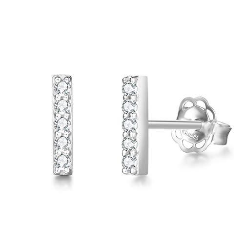 Pendientes Bar Pequeños para Mujer en Oro Blanco 14 k (585) con Circonita Pendientes Joyas para Mujeres Niñas - Dimensión: 9 * 1 mm