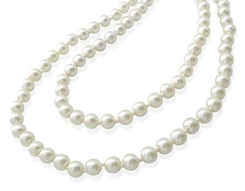 パール ネックレス ロングネックレス 1連 真珠 グラスパール オールノット仕上げ 150cm(2連 3連 アレンジ)冠婚葬祭 結婚式 パーティ フォーマル 上品 高見え