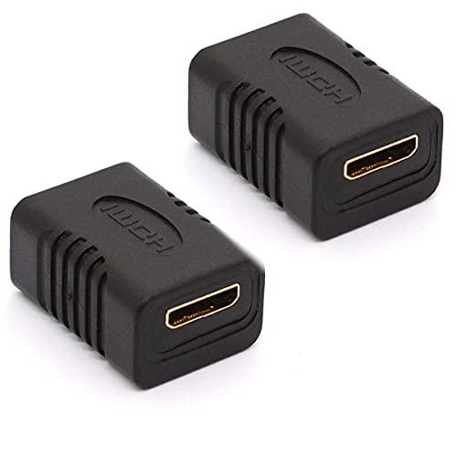 HTGuoji Mini HDMI acoplador 4K Mini-HDMI Adaptador HDMI Tipo C Conector hembra a hembra Soporte 3D 1080P HDMI Extender para cámaras de teléfono Tablet (2 piezas)