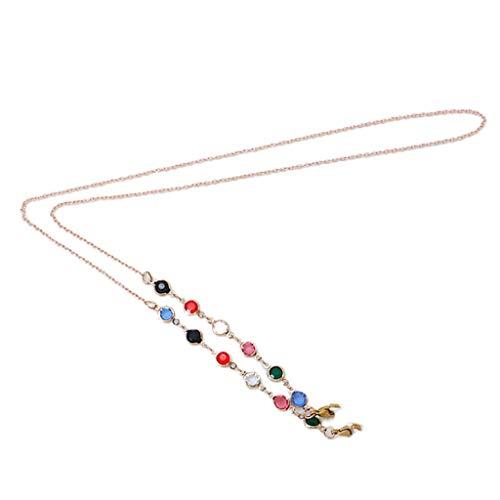 GROOMY Winddichte Halskette, Gesichtsmaske Bunte Perlenkette Lanyard Brillenschmuck Anti-Lost Holder Rope-Golden