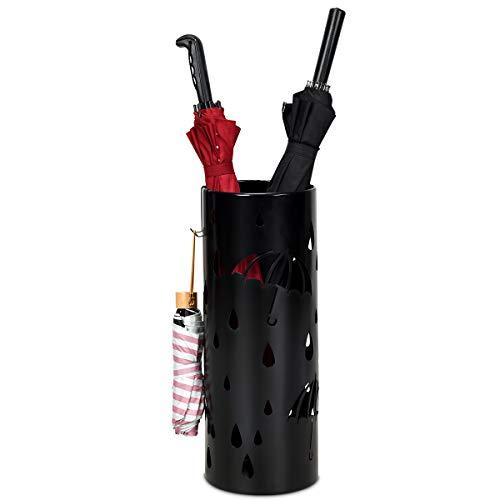 COSTWAY Regenschirmständer Metall, Schirmständer rund, Schirmhalter mit 2 Haken, 19 x 19 x 50 cm, Farbewahl (Schwarz)