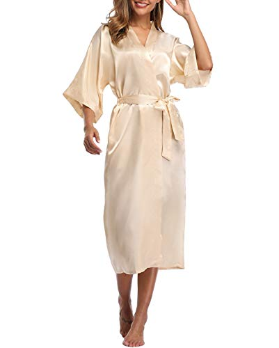 VOGTORY Women's Satin Robes Pure Color Long Kimono Bathrobes Soft Nightgown Champagne